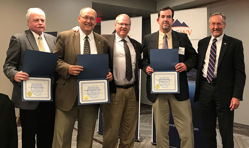 The three co-winners of the WV DOT 2017 Engineering Excellence Award, Large Roadway Category, 2nd place are shown above (from left) L.A. Gates, LA Gates Engineering; Rodney Holbert, Burgess & Niple; Roger Kennedy and Fred Brown, Chapman Technical Group, and Tom Smith, secretary of the West Virginia Department of Transportation and commissioner of the Division of Highways.